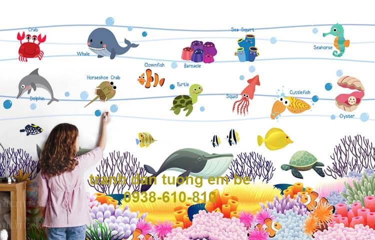 mẫu tranh dán tường 3d em bé