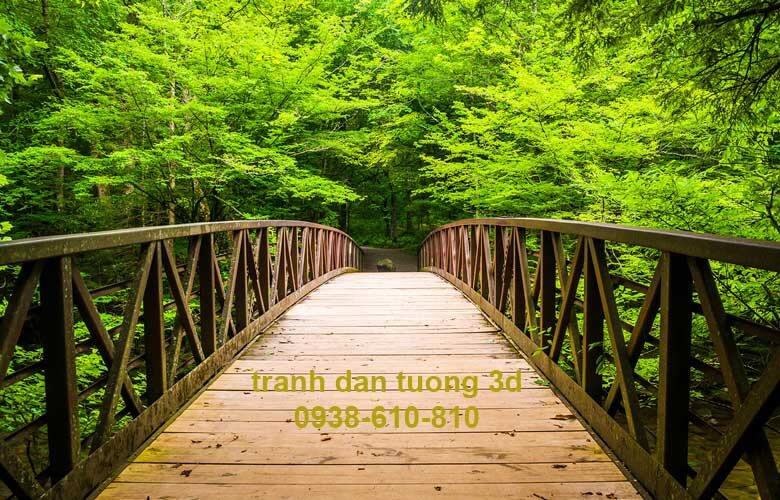 tranh dán 3d cây cầu