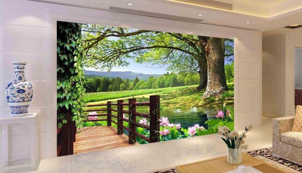 Tư vấn chọn tranh dán tường 3d phòng khách đẹp hợp phong thủy