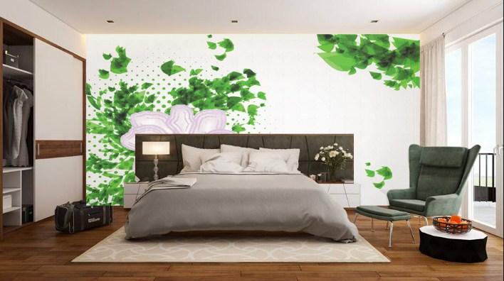 tranh lá xanh cho phòng ngủ